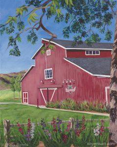 Katy Byerts Strawberry Farms painting of red barn used as a golf clubhouse