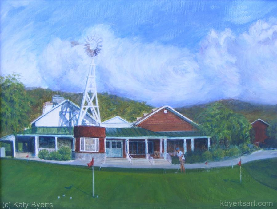 Katy Byerts Passing Storm at Strawberry Farms scene with golf clubhouse in farm style and putting green