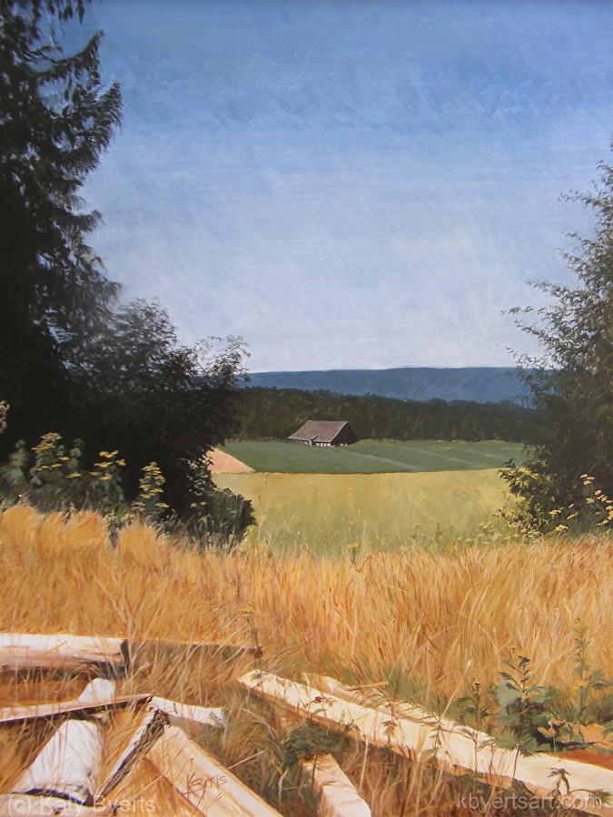 Katy Byerts Oregon Woods painting in the countryside with field and trees
