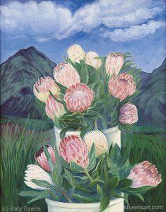 Katy Byerts Maui Fantasy painting of pink and white protea flowers with a in a lush Maui landscape
