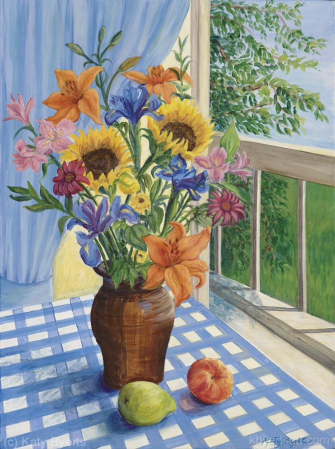 Katy Byerts Flowers with Checker Cloth colorful painting