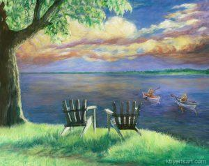 Katy Byerts Journey Home painting of kayakers on a lake at dusk with Adirondack chairs in foreground