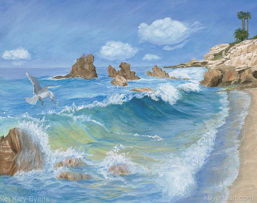 Katy Byerts Laguna Dreaming painting of colorful waves at Laguna Beach