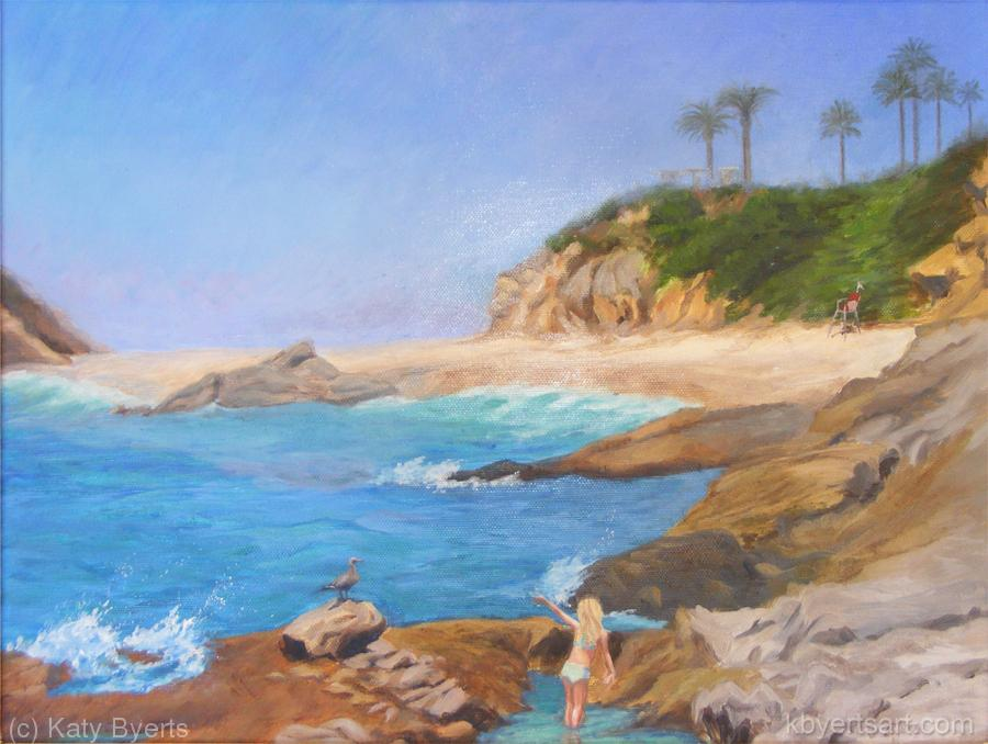 Katy Byerts Montage Paradise seascape painting of beach scene