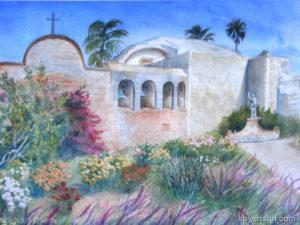 Katy Byerts Spring at Mission San Juan watercolor scene with flower gardens around mission