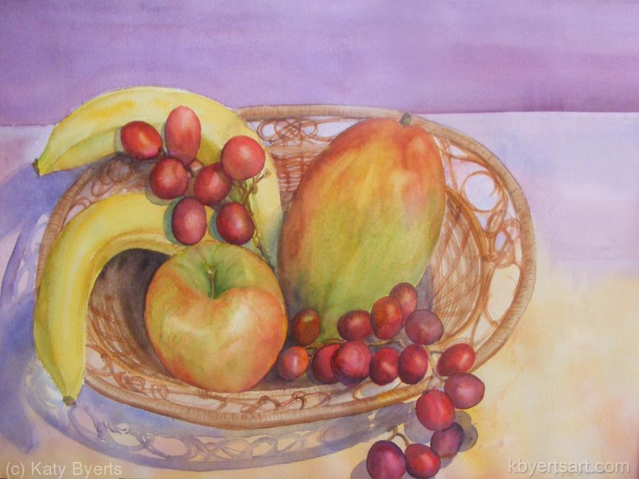 Katy Byerts Fruitful watercolor painting of fruits in a basket