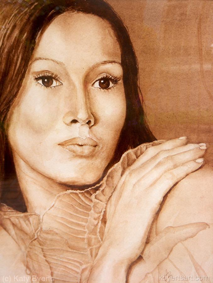 Katy Byerts Exotic Beauty watercolor portrait of woman