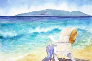 Katy Byerts The Water's Fine painting of beach scene chair facing the waves