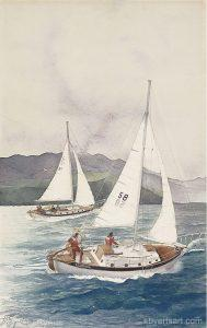 Katy Byerts Catalina Bound California seascape painting of sailboats